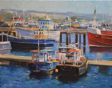 Richard Blowey Original Oil Painting Harbour Scene Cornwall